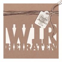 """Minimalistischer Entwurf """"Wir heiraten"""" auf Packpapier mit Kärtchen und dreifarbiger Schnur (727046)"""