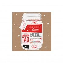 Danksagungskarte passend zur topmodischen Hochzeitseinladung in Form eines Einmachglases mit einem Kärtchen an rot-weißem Schnürchen. (727502)