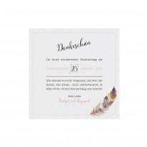 """Danksagungskarte passend zur modernen Hochzeitseinladung im """"Bohemian Style"""" mit Federmotiv und Lederbändchen (727505)"""