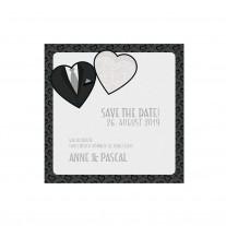 Save-the-date-Karte passend zur stilvollen Einschubkarte, Thema Kleid & Anzug, mit Schmuckbändchen (727506)