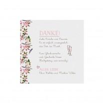 Danksagungskarte passend zur romantischen Hochzeitskarte mit zierlichem Blumenmotiv und Organzabändchen (727509)