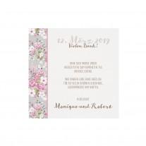Danksagungskarte passend zur romantischen Hochzeitskarte mit Blumen und Papierwickel mit Bändchen im Blumenmotiv (727510)