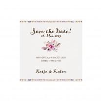 Save-the-date-Karte passend zur Ausziehkarte mit Blumenstrauß und dreifärbigem Strick (727511)