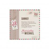 Danksagungskarte passend zur Einschubkarte mit Umschlag und Kärtchen an natürlichem Strick und Polaroidfoto (727513)