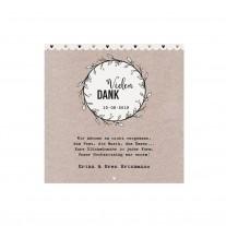 Danksagungskarte passend zur originellen Hochzeitskarte in Form einer Girlande mit verspielten Golddetails (727516)