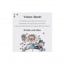 Danksagungskarte passend zur fröhlichen Aufklappkarte mit lustigem Brautpaar im VW-Käfer (727518)