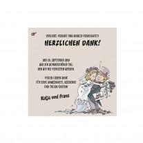 Danksagungskarte passend zur lustigen Dreifachfaltung auf Strukturpapier mit fröhlichem Brautpaar (727520)