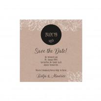 Save-the-date-Karte passend zur eleganten Hochzeitskarte mit Umschlag aus Packpapier und Strick mit Kärtchen (727524)
