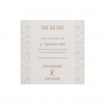 Save-the-date-Karte passend zur klassischen Hochzeitskarte mit Perlmuttband und kleiner Feder (727529)