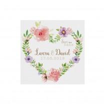 Save-the-date-Karte passend zur eleganten Hochzeitseinladung mit Papierwickel und Blumenmotiv und Satinbändchen (727536)