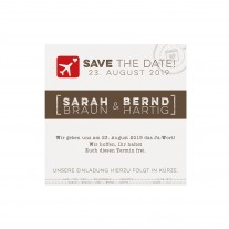 Save-the-date-Karte passend zur originellen Hochzeitskarte als Pass einschließlich Boardkarte und Gepäckanhänger (727538)