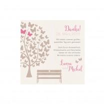 Danksagungskarte passend zur hübschen Hochzeitskarte mit Schmetterlingen und süßer Bank auf coolem Packpapier (727540)