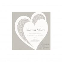 Save-the-date-Karte passend zur eleganten Dreifachfaltung mit Druckerfarbe in Velouroptik und dazu passendem Satinbändchen (727541)