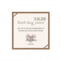 """Save-the-date-Karte passend zu Minimalistischer Entwurf """"Wir heiraten"""" auf Packpapier mit Kärtchen und dreifärbiger Schnur (727546)"""