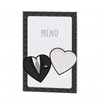 Menükarte passend zur stilvollen Einschubkarte, Thema Kleid & Anzug, mit Schmuckbändchen (727606)