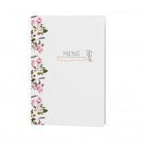 Menükarte passend zur romantischen Hochzeitskarte mit zierlichem Blumenmotiv und Organzabändchen (727609)
