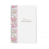 Menükarte passend zur romantischen Hochzeitskarte mit Blumen und Papierwickel mit Bändchen im Blumenmotiv (727610)