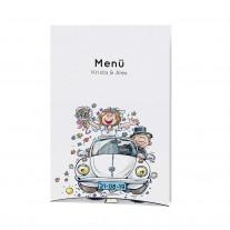 Menükarte passend zur fröhlichen Aufklappkarte mit lustigem Brautpaar im VW-Käfer (727618)
