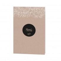 Menükarte passend zur eleganten Hochzeitskarte mit Umschlag aus Packpapier und Strick mit Kärtchen (727624)
