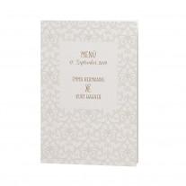 Menükarte passend zur klassischen Hochzeitskarte mit Perlmuttband und kleiner Feder (727629)