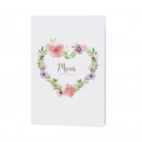 Menükarte passend zur eleganten Hochzeitseinladung mit Papierwickel und Blumenmotiv und Satinbändchen (727636)