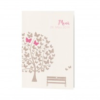Menükarte passend zur hübschen Hochzeitskarte mit Schmetterlingen und süßer Bank auf coolem Packpapier (727640)