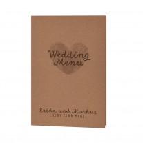 """Menükarte passend zum minimalistischer Entwurf """"Wir heiraten"""" auf Packpapier mit Kärtchen und dreifarbiger Schnur. (727646)"""