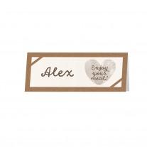 """Tischkärtchen passend zum minimalistischen Entwurf """"Wir heiraten"""" auf Packpapier mit Kärtchen und dreifärbiger Schnur (727746)"""