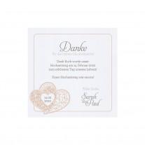 Dank- oder Save-the-Date Karte (4 Stück) passt zur Hochzeitseinladung -  Verschlungene Herzen (728524)