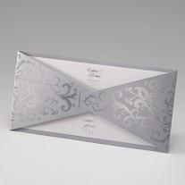 Einladungskarte mit silbernen Ecken (783040)