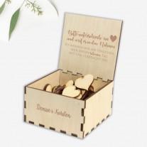 Herzaufbewahrungsbox mit dem passendem Stift für das Bilderrahmen-Gästebuch (Holz-1002)